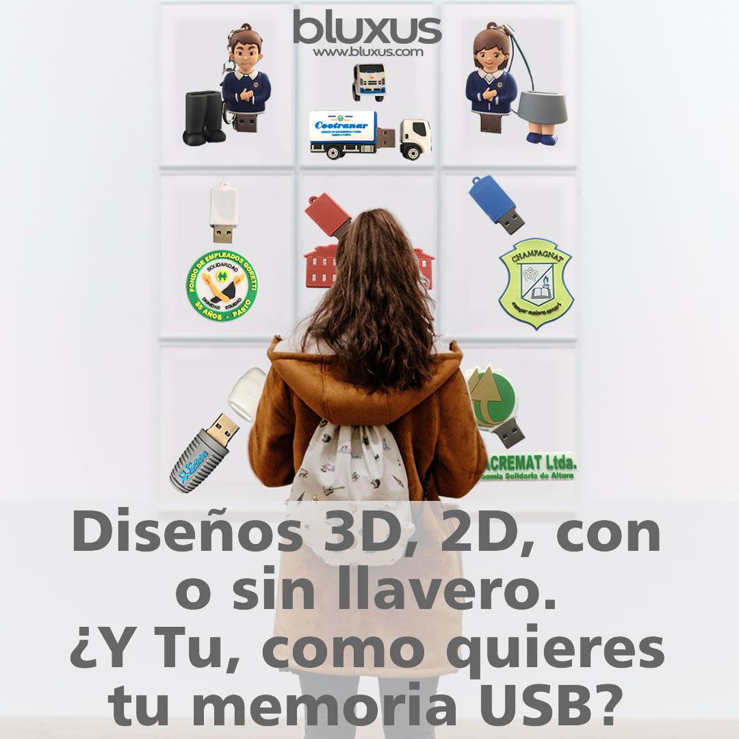 diseño 2d 3d con o sin llavero, usb personalizadas