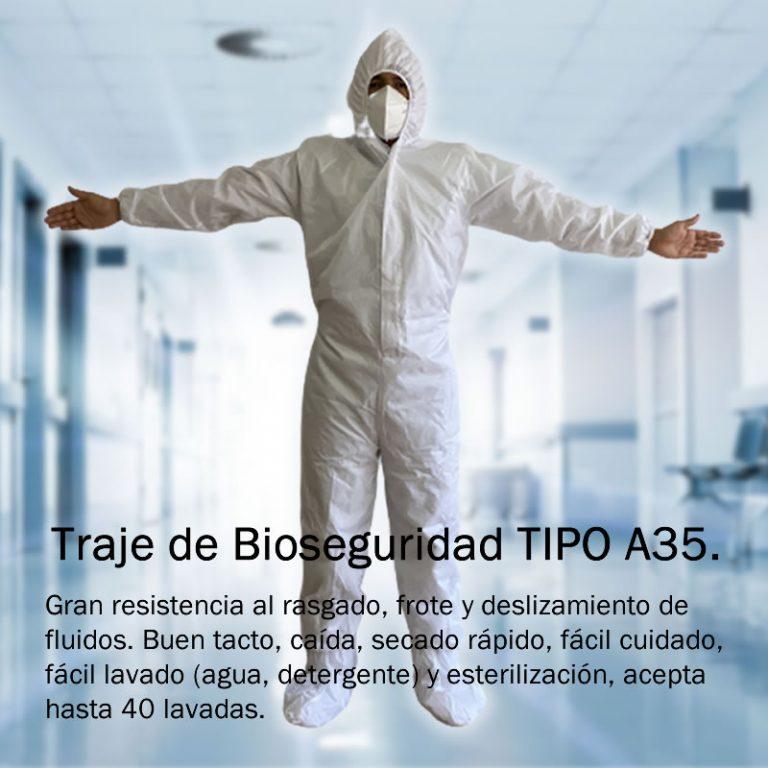 Traje de Protección Antifluidos Reutilizable para prevenir el contagio de COVID-19   Overol de Bioseguridad