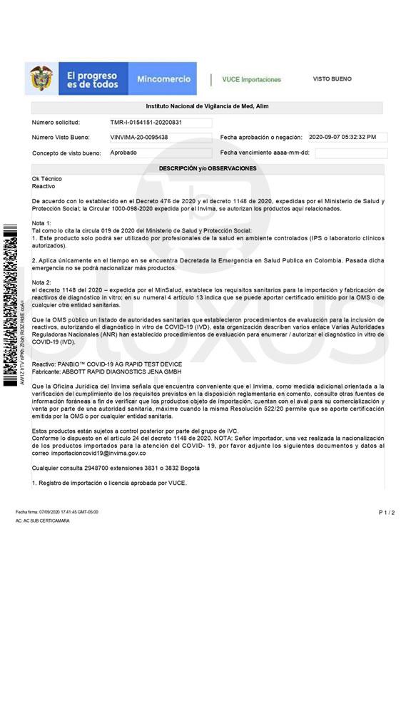 Panbio Abbott Covid 19 AG | Prueba Rápida de Antígeno en Colombia 3