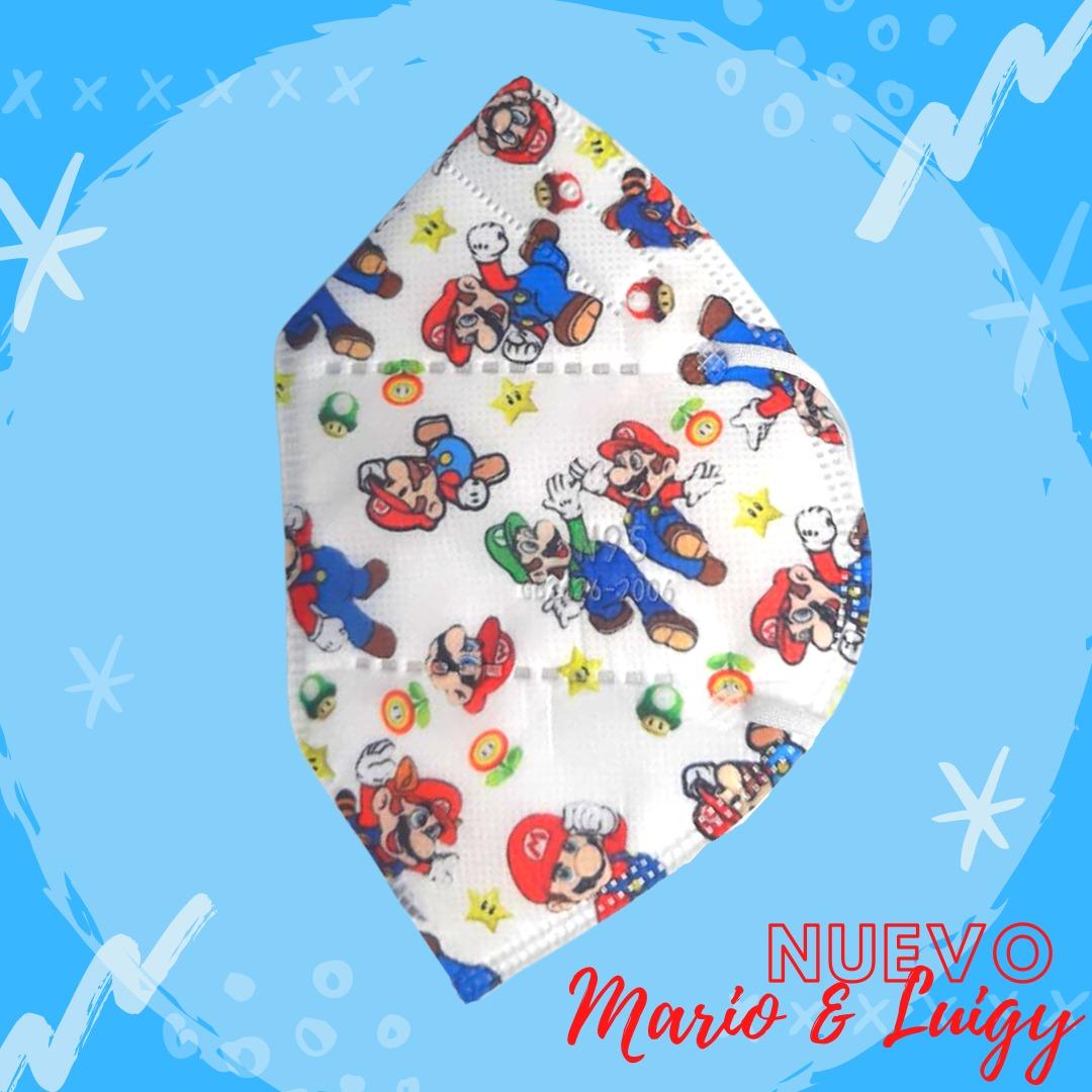 Tapabocas N95 para Niños y Niñas con Diseño de Mario Bross 5