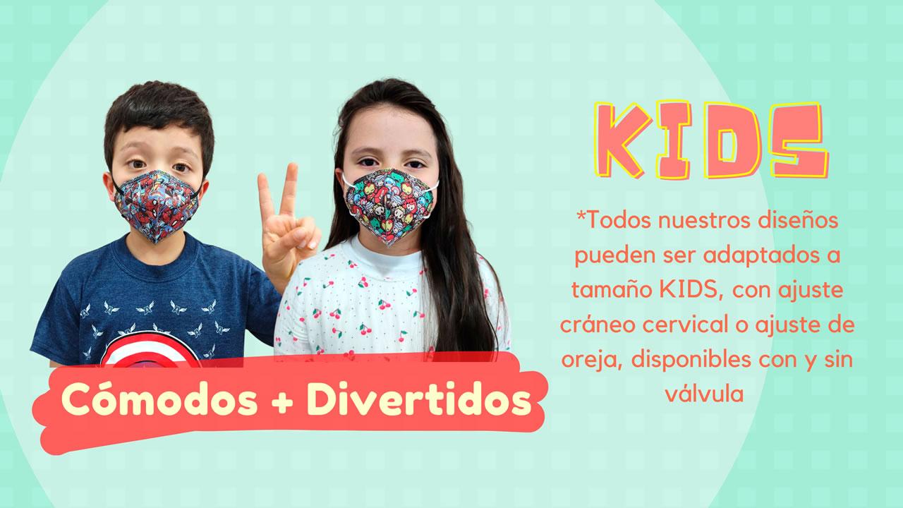 Tapabocas KIDS Respiradores N95 para Niños y Niñas Coleccion 2021