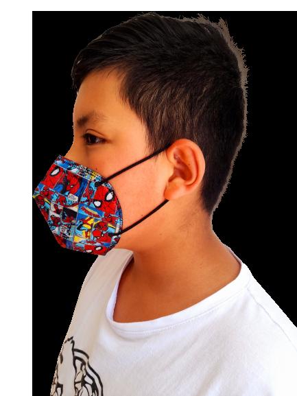 tapabocas kn95 para niños spiderman