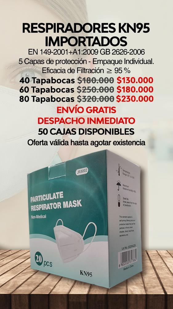 Tapabocas KN95 uso medico