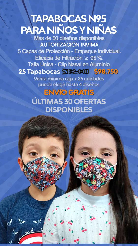 Tapabocas KN95 para Niños Niñas