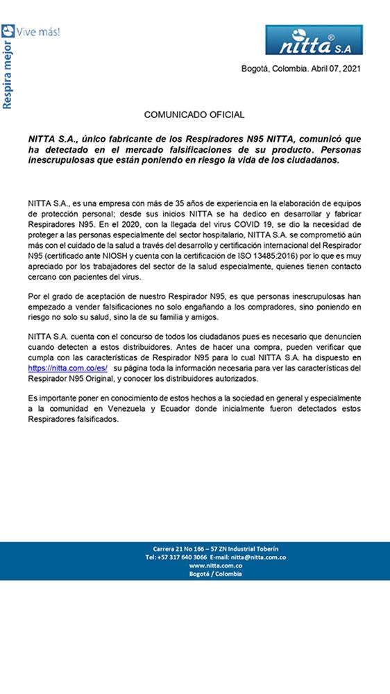 comunicado nitta falsificacion 2021 1