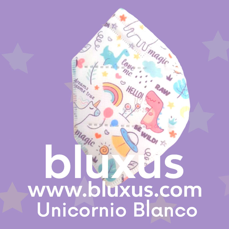 Tapabocas para Niños de Unicornio Blanco